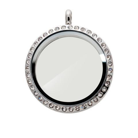Memory Locket Silver Crystal - Large