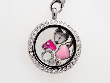 Memory Locket Silver Crystal - Medium