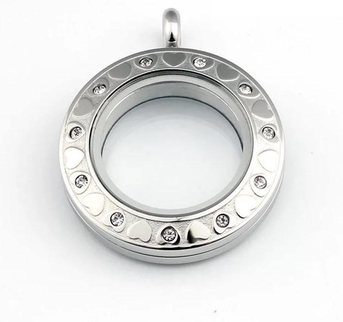 Memory Locket with Hearts - Medium Silver