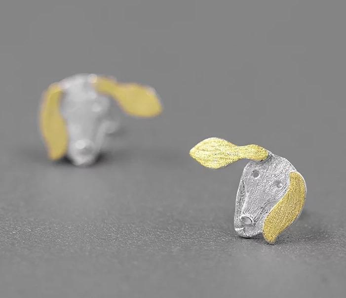 My Dachshund Earrings - Sterling Silver with Gold Plating