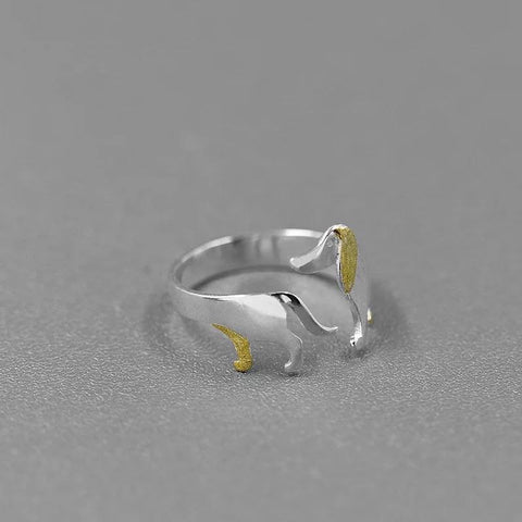 My Dachshund Ring - Sterling Silver with Gold Plating