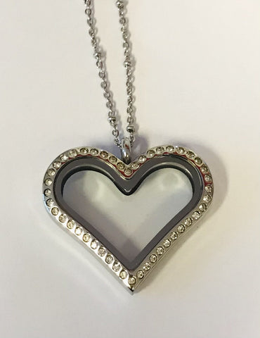 NEW! Memory Locket - Large Heart Silver Crystal