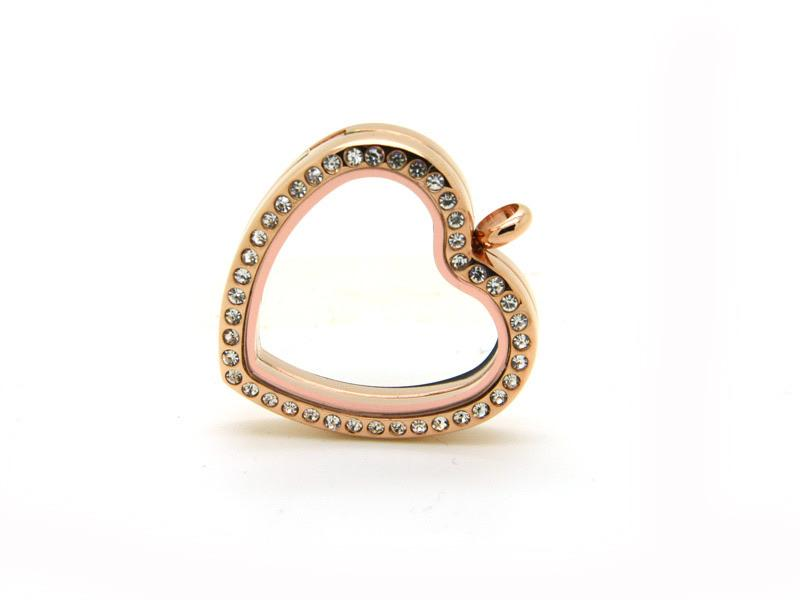 Memory Locket Rose Gold Crystal Heart