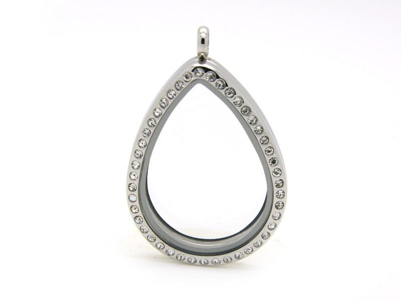 Memory Locket Silver Crystal Teardrop