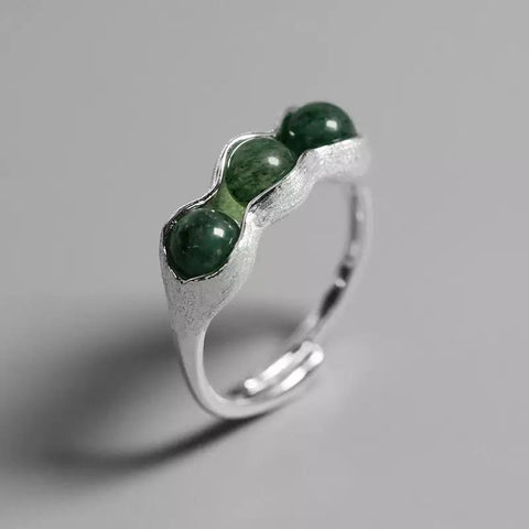 Pea Pod Ring - Sterling Silver and Aventurine