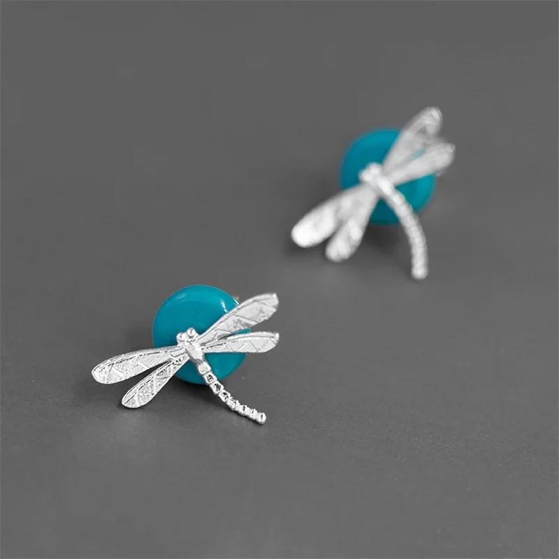 Resting Dragonfly Earrings - Sterling Silver and Turquoise