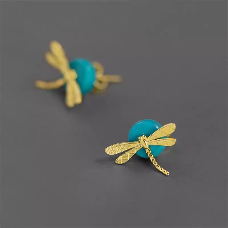 Resting Dragonfly Earrings - Sterling Silver with Gold-Plate and Turquoise