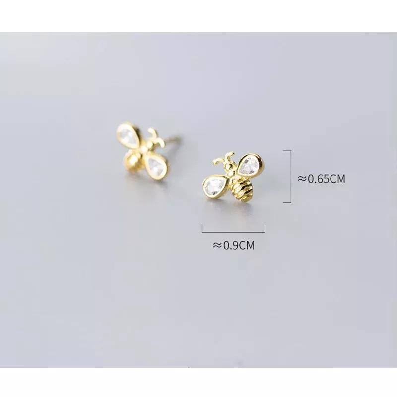 Sterling Silver Earrings - Bee (Gold) - Your Locket