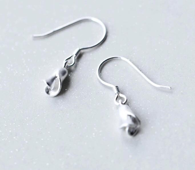 Sterling Silver Earrings - Calla Lily Drops - Your Locket