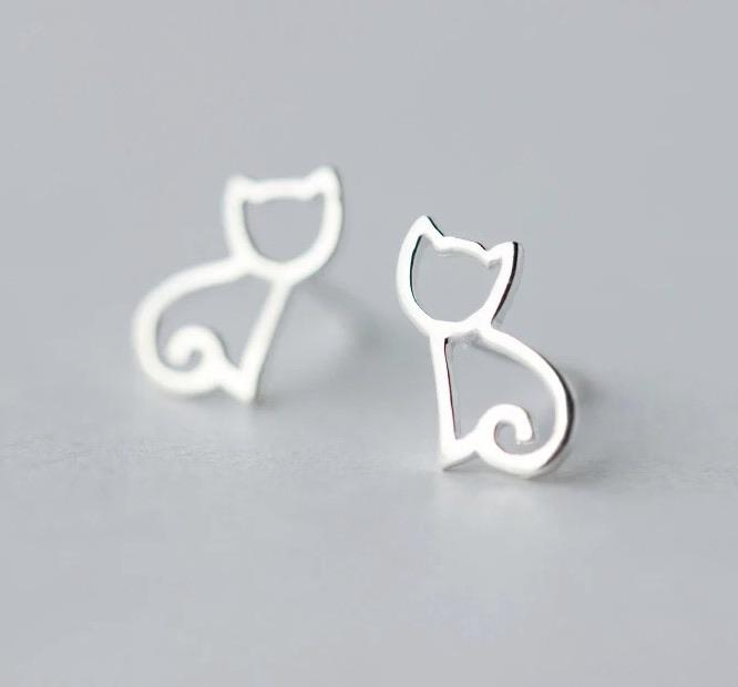 Sterling Silver Earrings - Cat - Your Locket