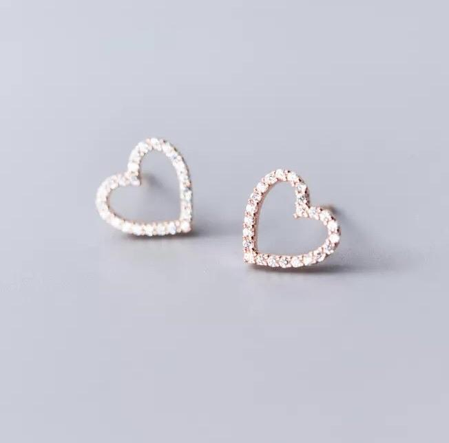 Sterling Silver Earrings - Crystal Open Heart (Rose Gold)