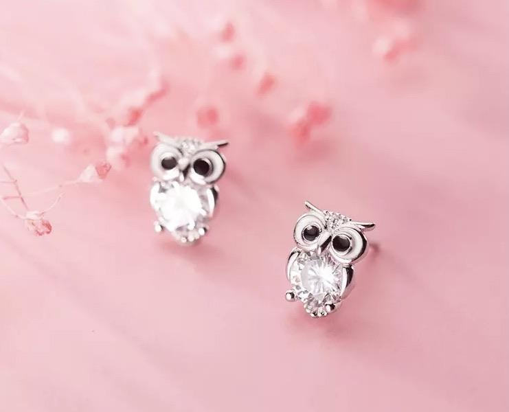 Sterling Silver Earrings - Crystal Owl - Your Locket