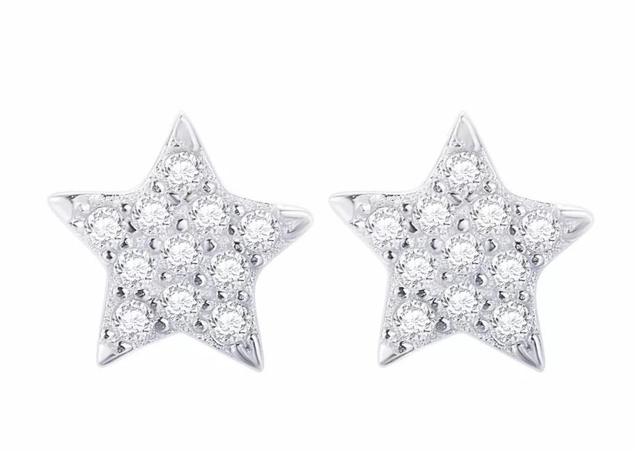 Sterling Silver Earrings - Crystal Star