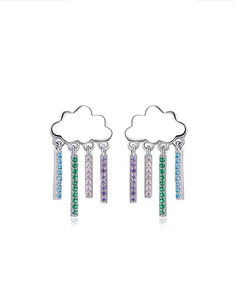 Sterling Silver Earrings - Drop Rain Clouds