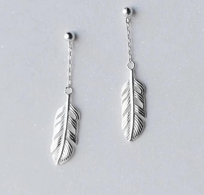 Sterling Silver Earrings - Feather Drop - Your Locket