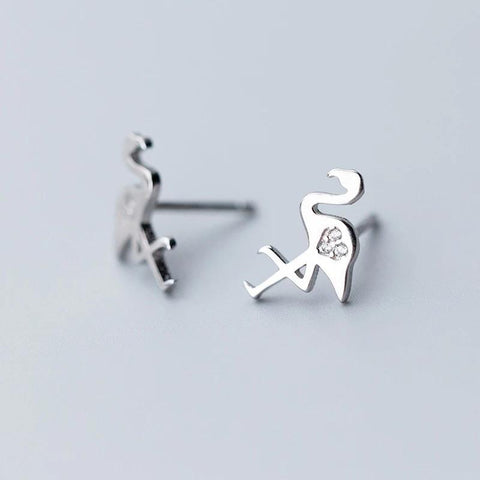 Sterling Silver Earrings - Flamingo