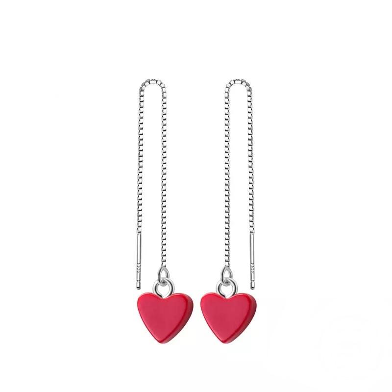 Sterling Silver Earrings - Long Drop Red Hearts