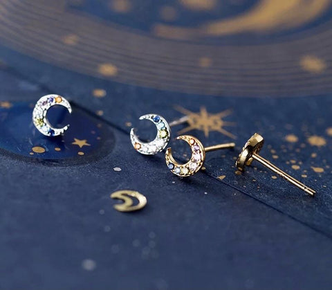 Sterling Silver Earrings - Multi-Crystal Moon Gold