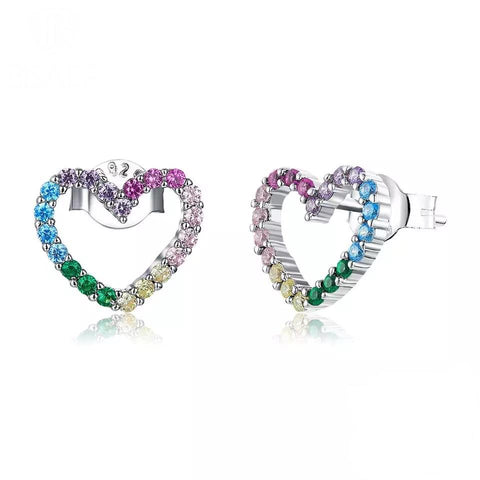Sterling Silver Earrings - Multicolour Crystal Hearts