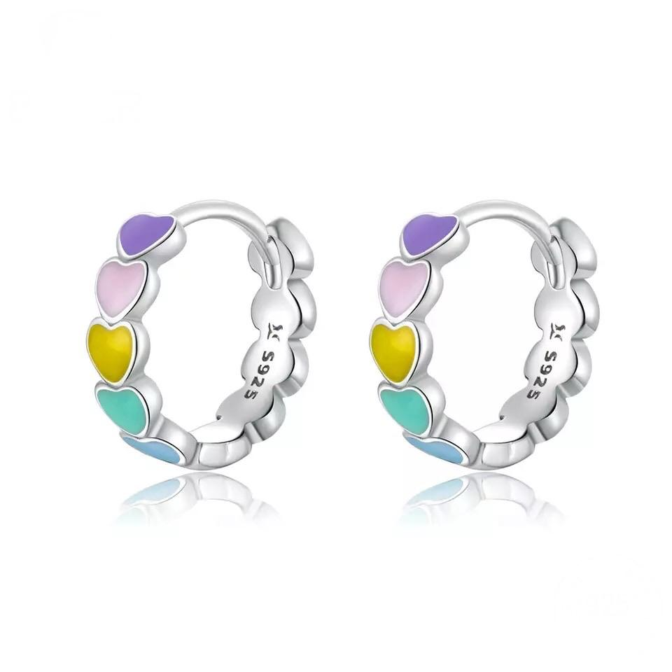 Sterling Silver Earrings - Multicolour Heart Hoops - Your Locket
