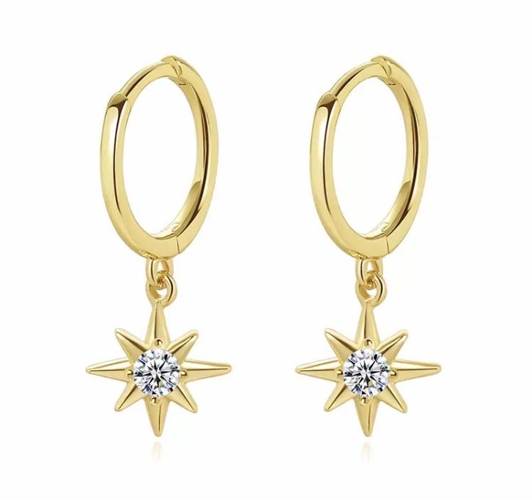 Sterling Silver Earrings - North Star Drop Hoops (Gold) - Your Locket