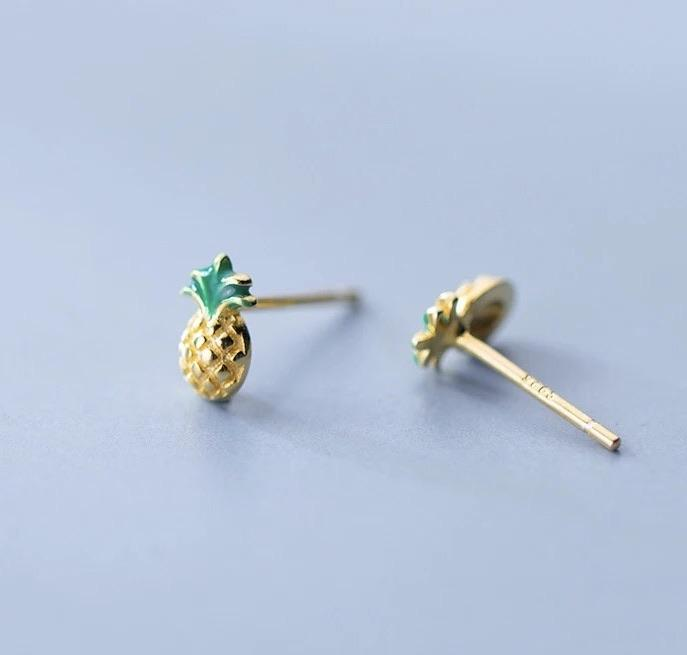 Sterling Silver Earrings - Pineapple - Your Locket