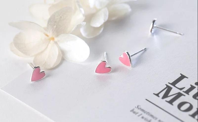 Sterling Silver Earrings - Pink Hearts