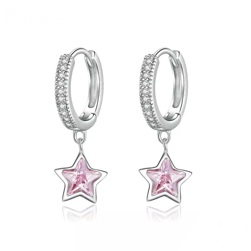 Sterling Silver Earrings - Pink Star Drop Hoops