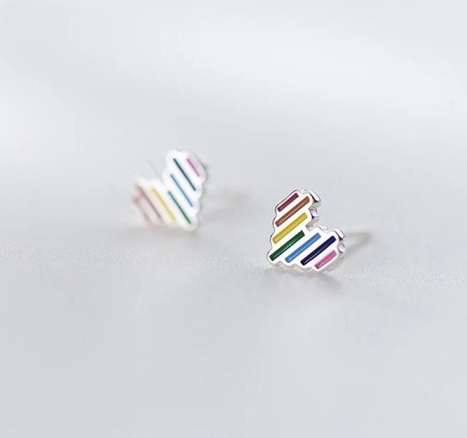 Sterling Silver Earrings - Rainbow Heart