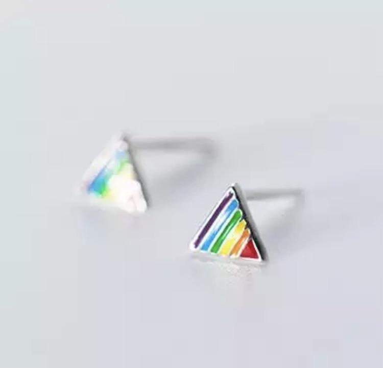 Sterling Silver Earrings - Rainbow Triangle - Your Locket