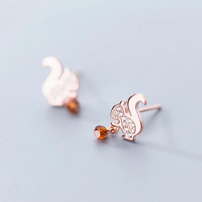 Sterling Silver Earrings - Squirrel (Rose-Gold) - Your Locket