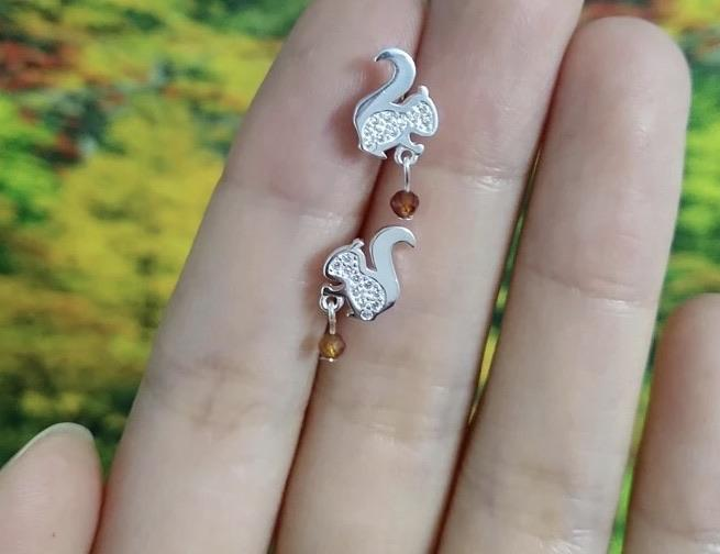 Sterling Silver Earrings - Squirrel (Silver) - Your Locket