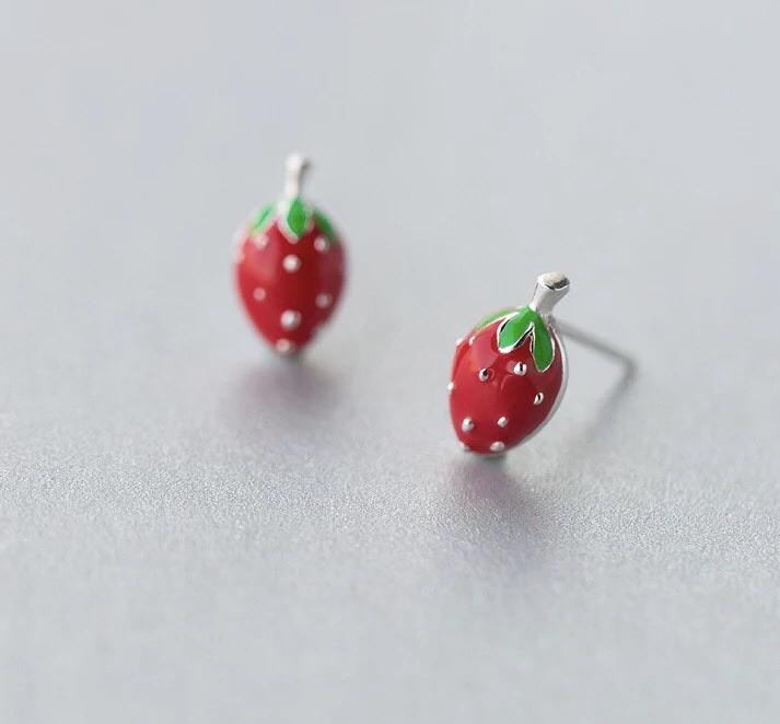 Sterling Silver Earrings - Strawberry - Your Locket