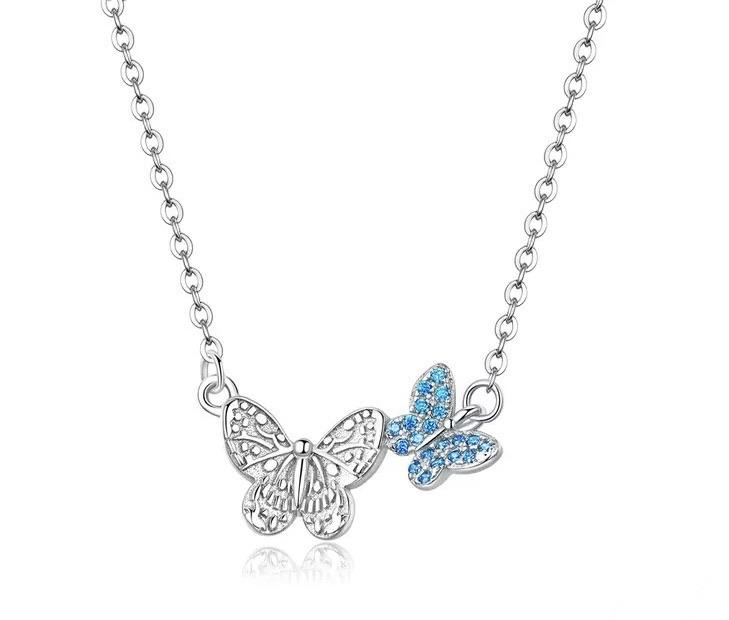 Sterling Silver Necklace - Blue Butterfly Shine - Your Locket