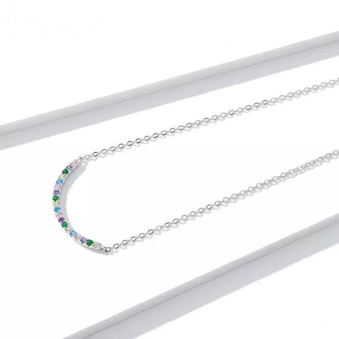 Sterling Silver Necklace - Coloured Curve
