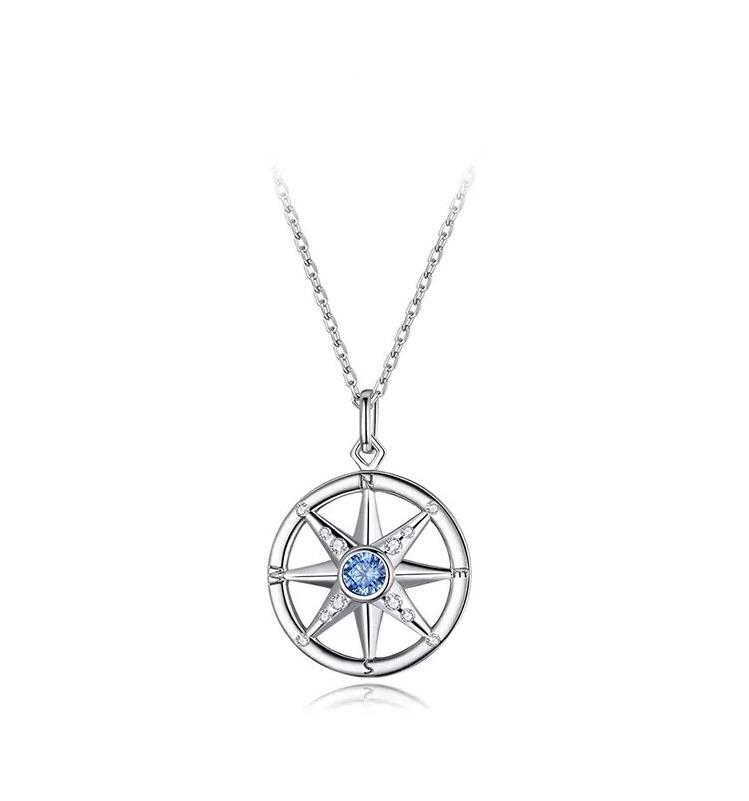Sterling Silver Necklace - Compass Blue Crystal - Your Locket