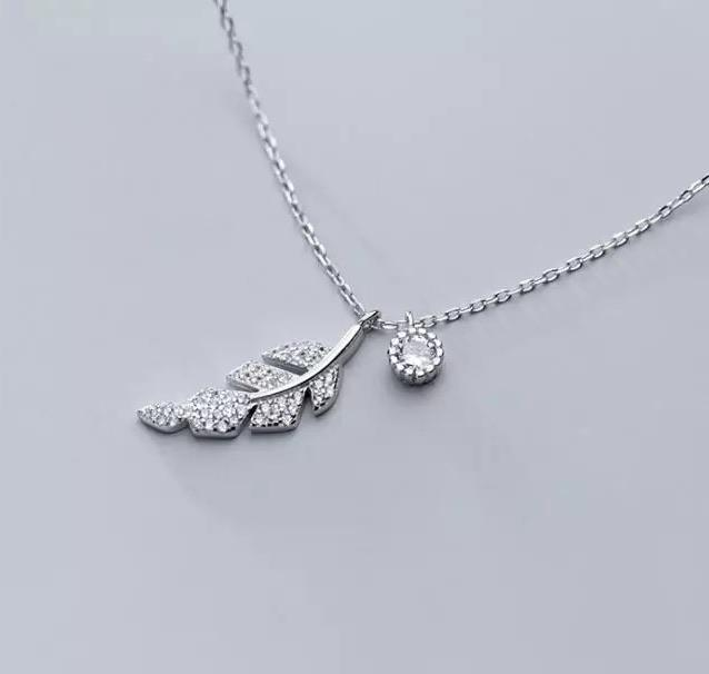 Sterling Silver Necklace - Crystal Leaf