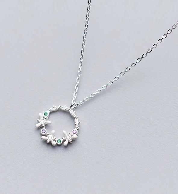 Sterling Silver Necklace - Flower Circle - Your Locket