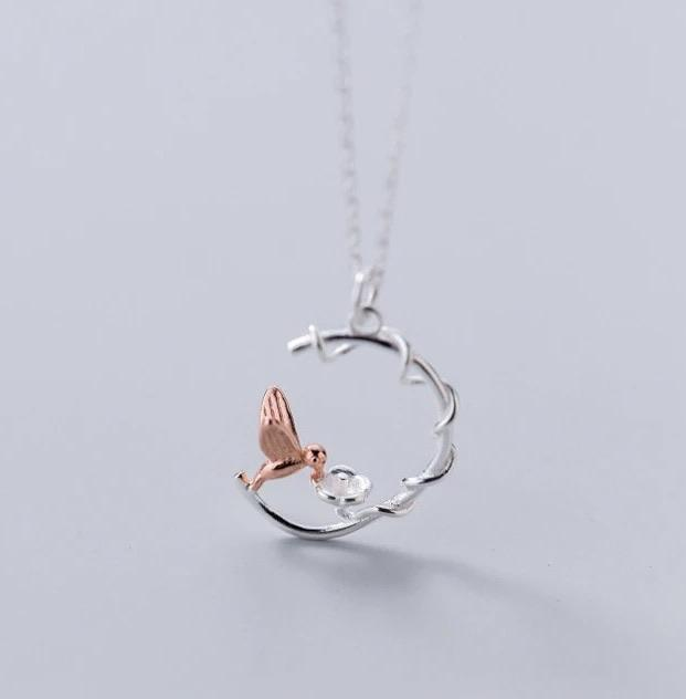 Sterling Silver Necklace - Hummingbird - Your Locket