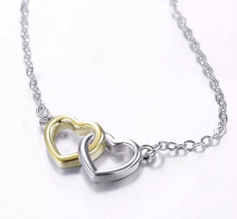 Sterling Silver Necklace - Interlocking Hearts