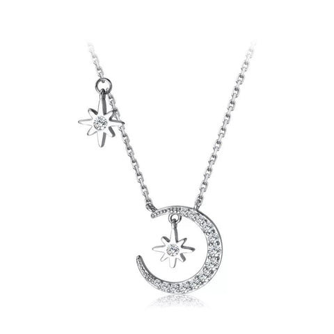 Sterling Silver Necklace - Moon and Stars