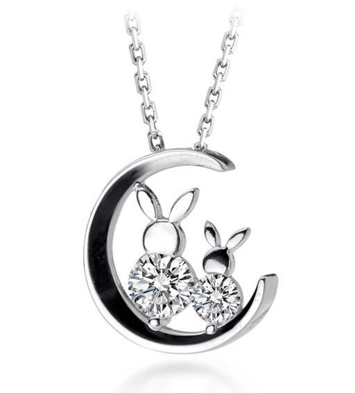 Sterling Silver Necklace - Moonlight Bunnies