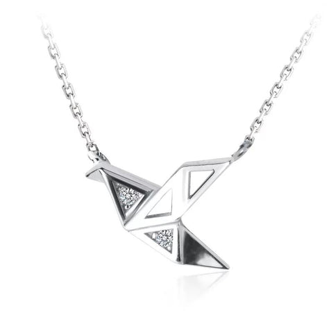 Sterling Silver Necklace - Origami Crane