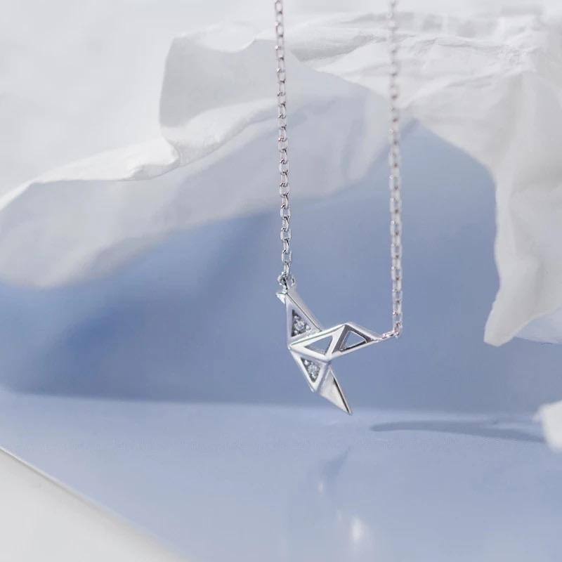 Sterling Silver Necklace - Origami Crane - Your Locket