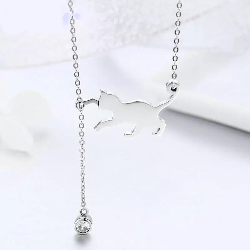 Sterling Silver Necklace - Playful Kitty