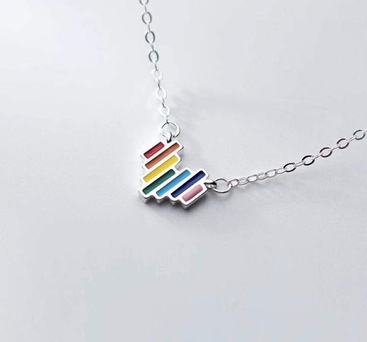 Sterling Silver Necklace - Rainbow Heart
