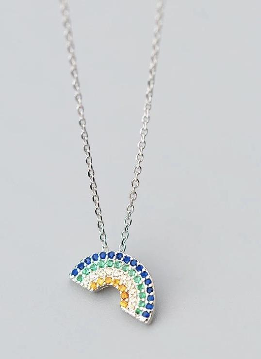 Sterling Silver Necklace - Rainbow Shine