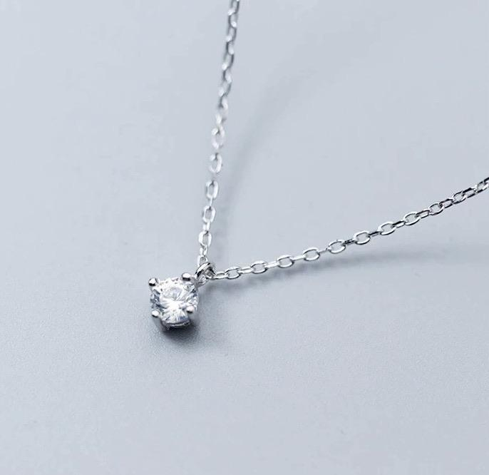 Sterling Silver Necklace - Simple Sparkle