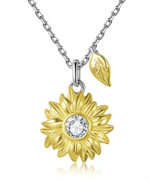 Sterling Silver Necklace - Sunflower Sparkle - Your Locket