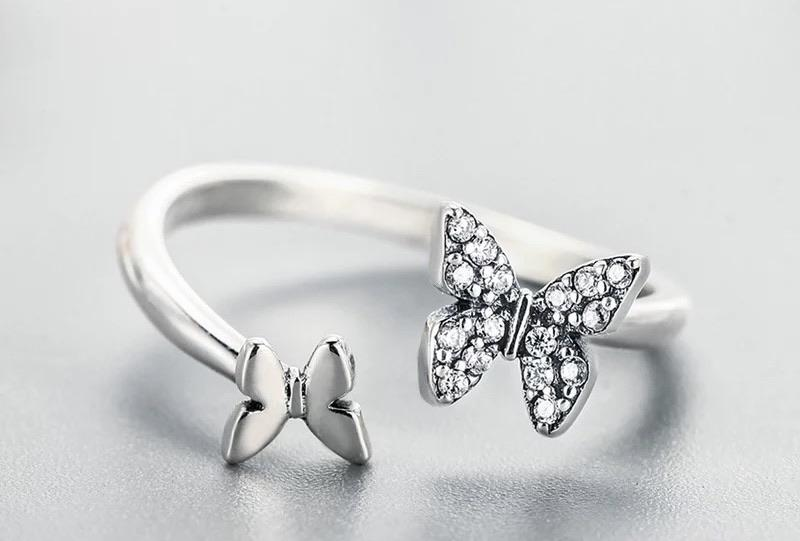 Sterling Silver Ring - Butterfly Crystal